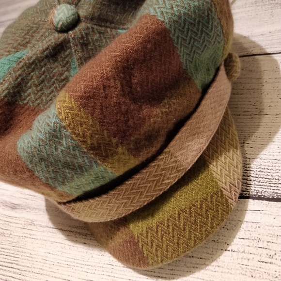 Brown Turquoise and Green Newsboy Cap NWT